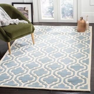 Safavieh Handmade Moroccan Chatham Double-crisscross-pattern Blue/ Ivory Wool Rug (8' x 10')