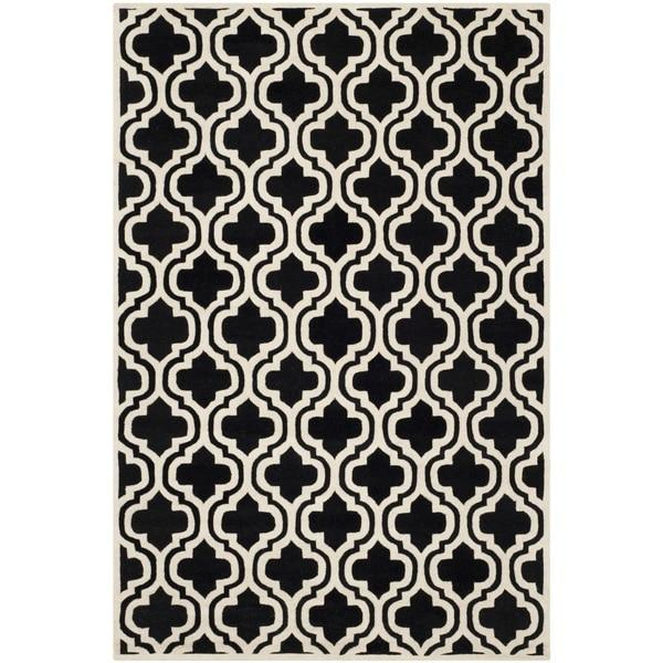 Safavieh Handmade Moroccan Chatham Black/ Ivory Geometric Wool Rug - 8' x 10'