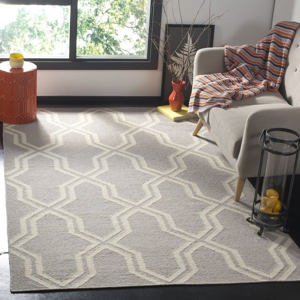 Safavieh Hand-woven Moroccan Reversible Dhurries Grey/ Ivory Wool Rug - 8' x 10'