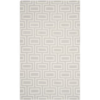 Safavieh Hand-woven Moroccan Reversible Dhurries Grey/ Ivory Wool Rug (8' x 10')