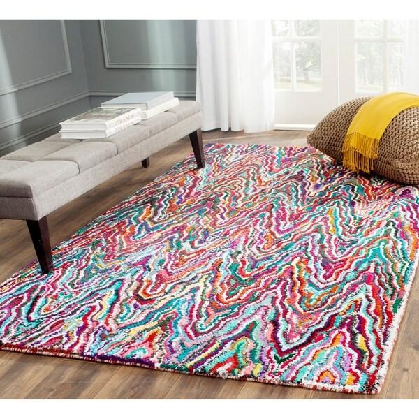 Safavieh Handmade Nantucket Abstract Chevron Multicolored Cotton Rug - 8' x 10'