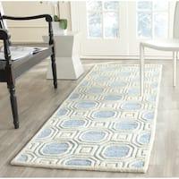 Safavieh Handmade Precious Mist Blue Polyester/ Wool Rug - 2'6 x 8'