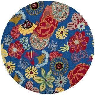 Safavieh Indoor/ Outdoor Four Seasons Blue/ Red Rug (4' Round)