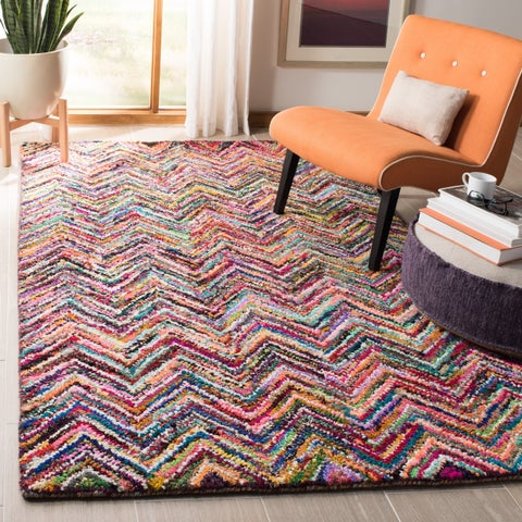 Safavieh Handmade Nantucket Abstract Chevron Multicolored Cotton Rug - 4' x 4' Square