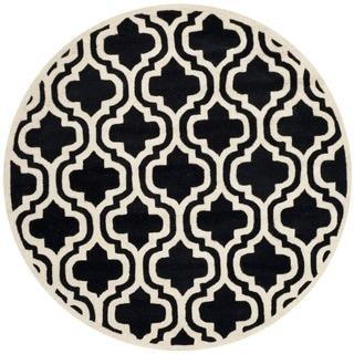 Safavieh Handmade Moroccan Chatham Black/ Ivory Wool Rug (5' Round)