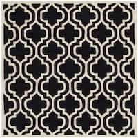 Safavieh Handmade Moroccan Chatham Black/ Ivory Wool Rug - 5' Square