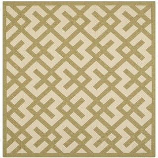 Safavieh Courtyard Contemporary Beige/ Green Indoor/ Outdoor Rug (5'3 Square)