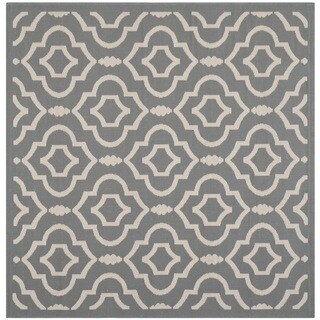 Safavieh Indoor/ Outdoor Courtyard Geometric-pattern Anthracite/ Beige Rug (5'3 Square)