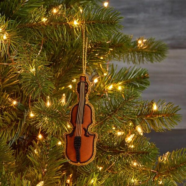 Handmade Beaded Violin Ornament (India)