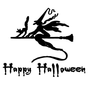 Witch on Broomstick 'Happy Halloween' Vinyl Wall Decal