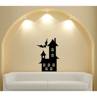 Bat Flying Over Home Halloween Vinyl Wall Decal