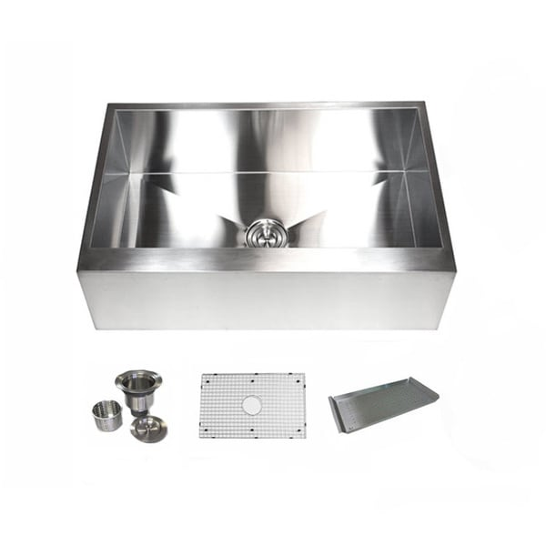 33 Inch Stainless Steel Farmhouse Sink : KRAUS 30 Inch Farmhouse Single Bowl Stainless Steel Kitchen Sink with ...