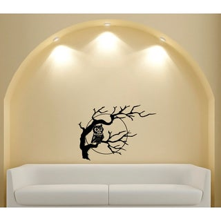 Owl in Tree Glossy Black Vinyl Wall Decal