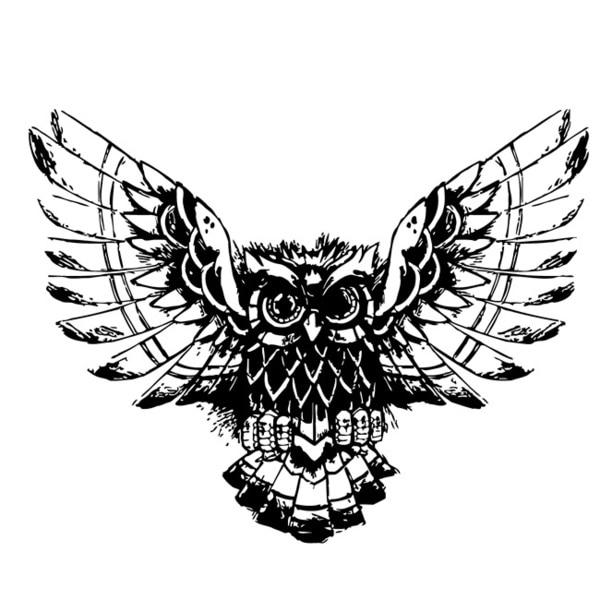 Flying Wise Owl Glossy Black Vinyl Wall Decal