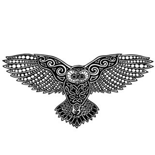 Flying Owl Bird Glossy Black Vinyl Wall Decal