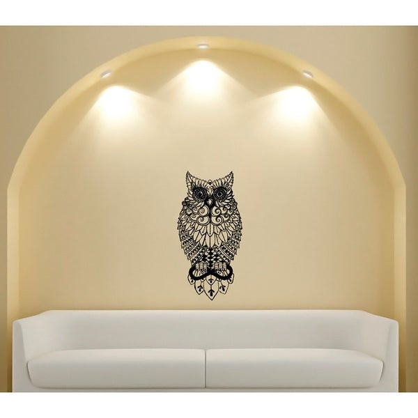 shop owl glossy black vinyl wall decor - free shipping on orders