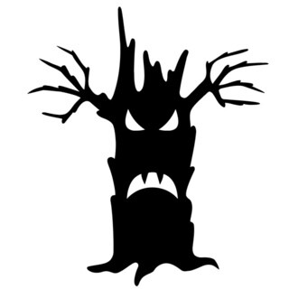 Evil Halloween Tree Glossy Black Vinyl Wall Decal