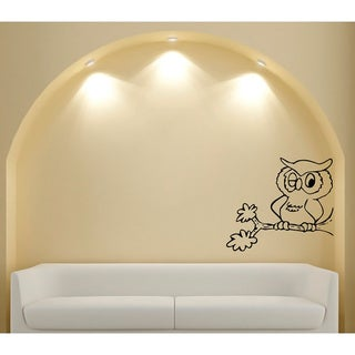 Cartoon Owl on Branch Glossy Black Vinyl Wall Decal