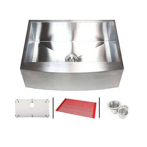 33-inch 16 Gauge Stainless Steel Single Bowl Curve Apron Farmhouse Kitchen Sink Combo