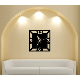 Large Wall Clock Glossy Black Vinyl Wall Decal (As Is Item)