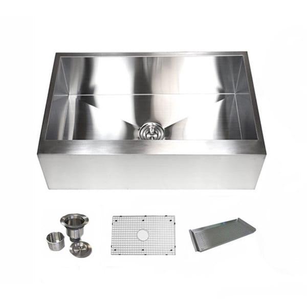 Kraus  Inch Farmhouse Apron Single Bowl Steel Kitchen Sink