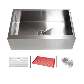 36-inch 16 Gauge Stainless Steel Single Bowl Flat Apron Farmhouse Kitchen Sink Combo