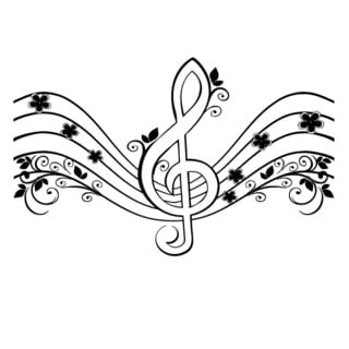 Floral Musical Treble Clef Vinyl Wall Decal