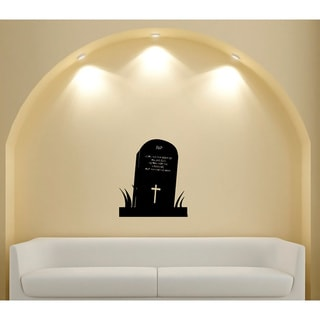 Grave Cross Tombstone Glossy Black Vinyl Wall Decal