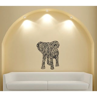 Indian Pattern Elephant Glossy Black Vinyl Wall Decal