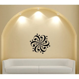 Floral Pattern Musical Notes Vinyl Sticker Wall Decal