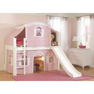 Twin Size Playhouse Tent Loft Bed with Slide and Ladder