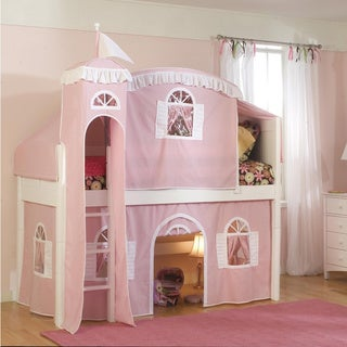 Low-Loft Twin Playhouse Bed with Bottom Curtain and Ladder