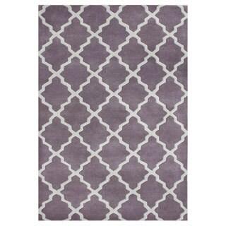 Handmade Lilac/ Moon Beam Blend Wool Area Rug (5' x 8')