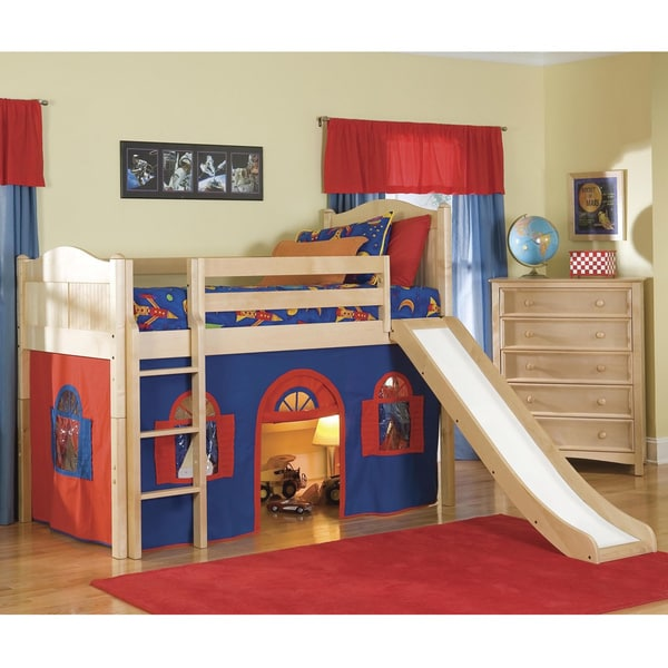 Natural Low Loft Twin Playhouse Bed With Slide And Ladder