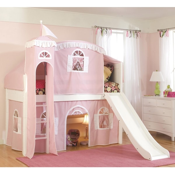 Cottage Twin Loft Castle Tower Playhouse Bed with Slide and Ladder