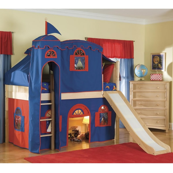 shop natural low loft playhouse castle tower twin bed with slide and ladder on sale free. Black Bedroom Furniture Sets. Home Design Ideas
