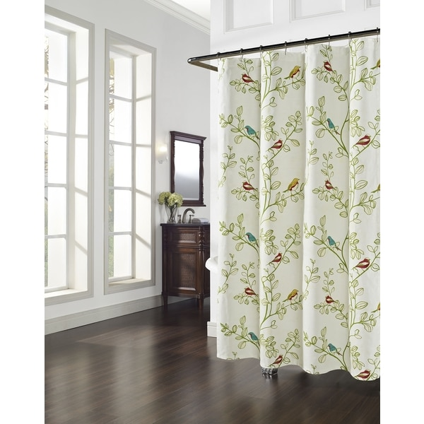 Aviary Floral/Bird Pattern Shower Curtain