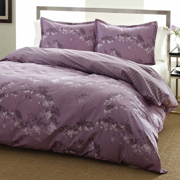 City Scene Blossom Purple Floral Reversible 3-piece Comforter Set