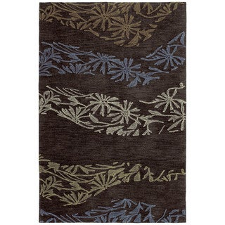 Handmade Copia Chocolate Polyester Rug (8' x 10')