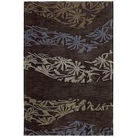 Handmade Copia Chocolate Polyester Rug