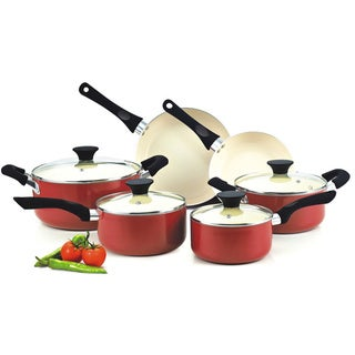 Cook N Home 10-Piece Nonstick Ceramic Coating Cookware Set, Red