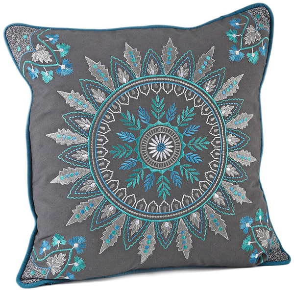 Decorative Pillow Filling : Medallion Embroidered 17-inch Decorative Down Fill Throw Pillow - Free Shipping On Orders Over ...