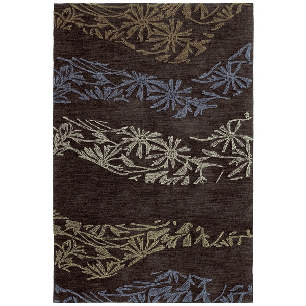 Handmade Copia Chocolate Polyester Rug - 5' x 7'6