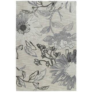 Handmade Copia Grey Floral Polyester Rug (8' x 10')
