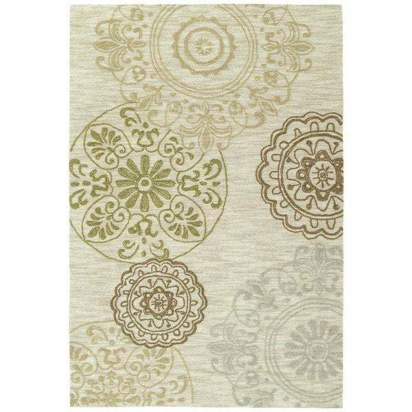 Handmade Copia Sand Suzani Polyester Rug (2' x 3')