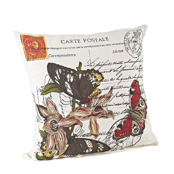 18-inch Butterfly Design Down Fill Throw Pillow