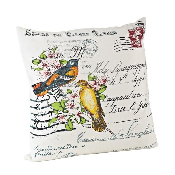 Bird Design 18-inch Down Fill Throw Pillow