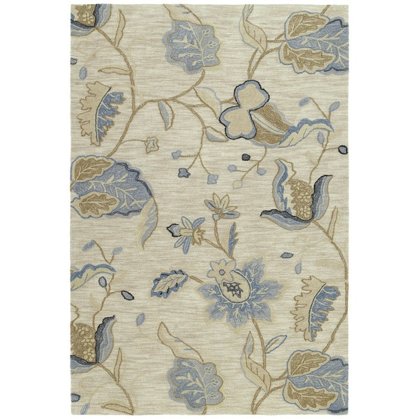 Shop Copia Sand Floral 9x12 Polyester Rug Free Shipping