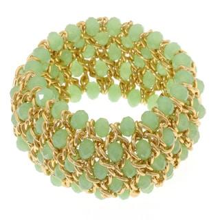 La Preciosa Gold-Tone and Jade Crystal Wide Stretch Bracelet