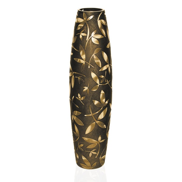 Fij European Mouth Blown Antique Gold 20-inch Vase